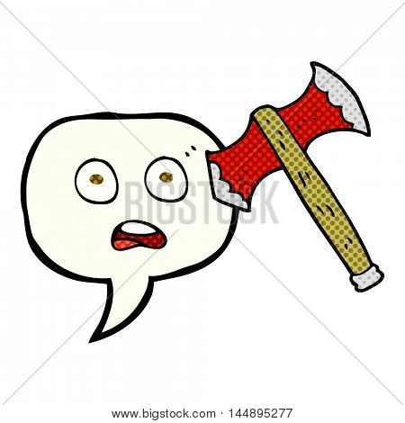 freehand drawn comic book speech bubble cartoon axe