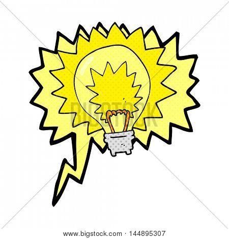 freehand drawn comic book speech bubble cartoon light bulb shining