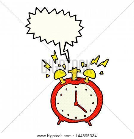 freehand drawn comic book speech bubble cartoon ringing alarm clock