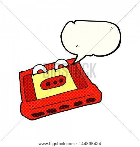 freehand drawn comic book speech bubble cartoon cassette tape