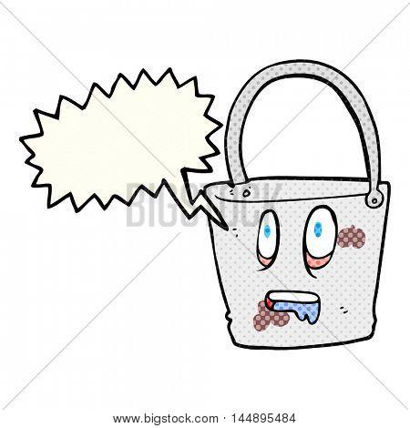 freehand drawn comic book speech bubble cartoon bucket