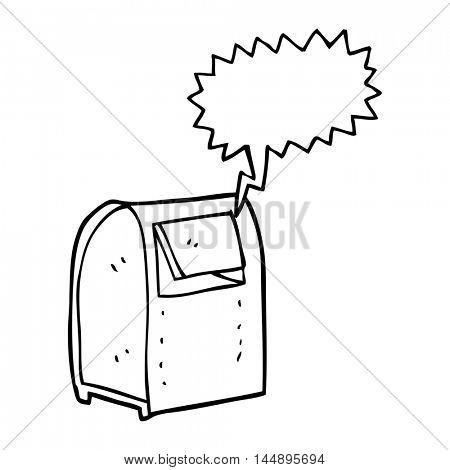 freehand drawn speech bubble cartoon mailbox