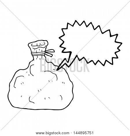 freehand drawn speech bubble cartoon tied sack