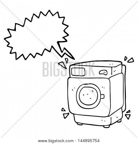 freehand drawn speech bubble cartoon rumbling washing machine