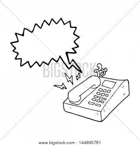 freehand drawn speech bubble cartoon office telephone