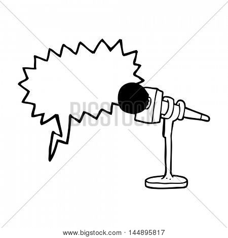 freehand drawn speech bubble cartoon microphone
