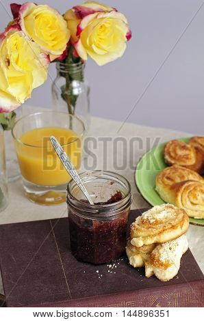 Sweet Breakfast With Figs Jam And Buns