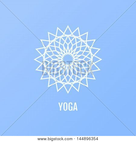Vector yoga icons and round line badges in the shape of a flower - graphic design elements in outline style or simple geometric logo templates for spa center or yoga studio.