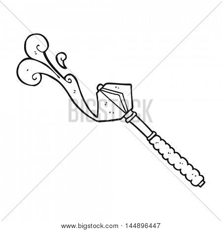freehand drawn black and white cartoon bloody medieval mace