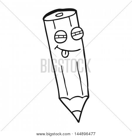 happy freehand drawn black and white cartoon sly pencil