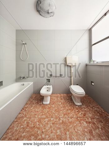 Old domestic bathroom of an apartment