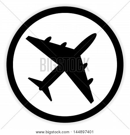 Plane button on white background. Vector illustration.