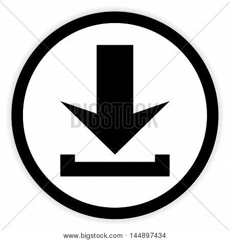 Arrow download button on white background. Vector illustration.