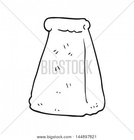 freehand drawing of a black and white cartoon paper bag