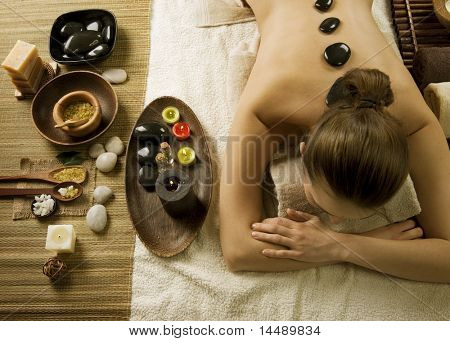 Spa Woman.Hot Stones Massage