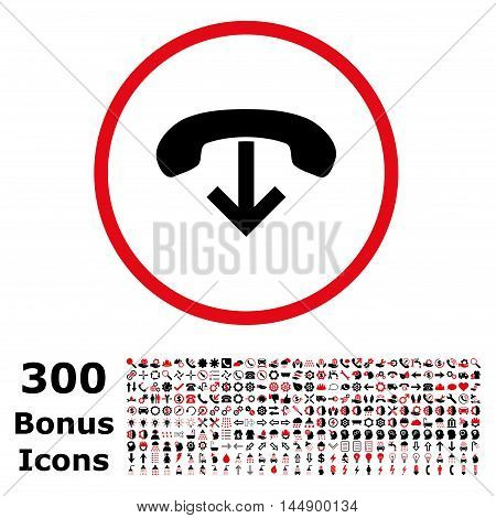 Phone Hang Up rounded icon with 300 bonus icons. Glyph illustration style is flat iconic bicolor symbols, intensive red and black colors, white background.