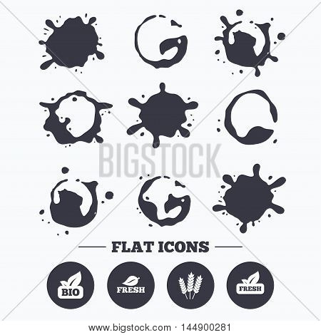 Paint, coffee or milk splash blots. Natural fresh Bio food icons. Gluten free agricultural sign symbol. Smudges splashes drops. Vector