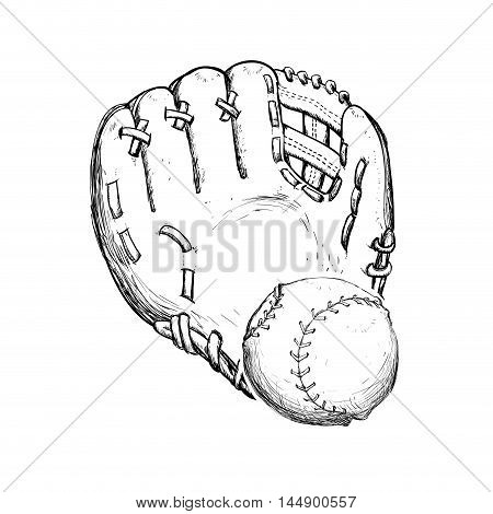ball glove baseball sport competition game hobby icon. Sketch and Isolated design. Vector illustration