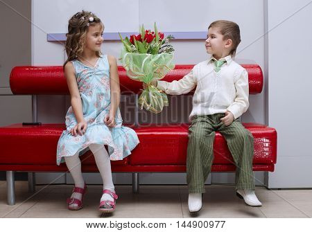 photo of boy and girl on date