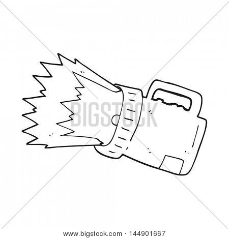 freehand drawn black and white cartoon torch