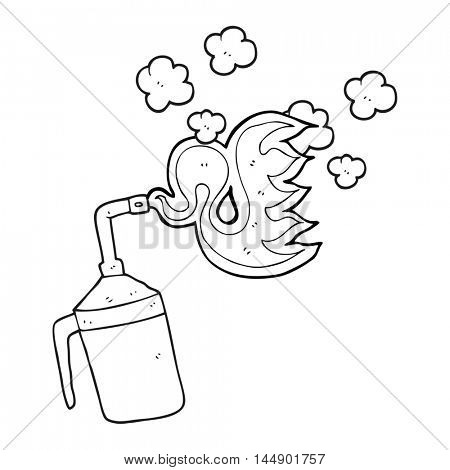 freehand drawn black and white cartoon blow torch