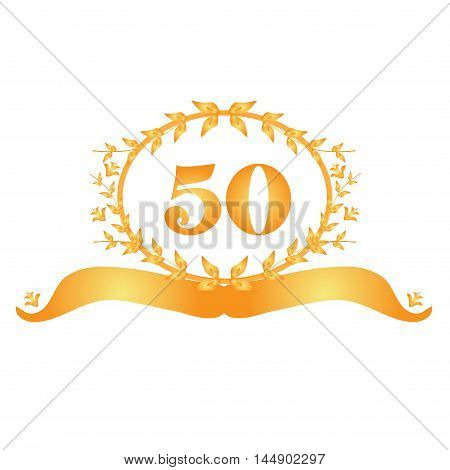 50th anniversary golden floral banner design element