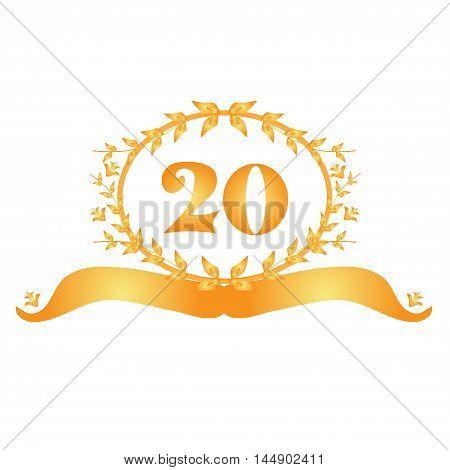 20th anniversary golden floral banner design element