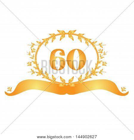 60th anniversary golden floral banner design element