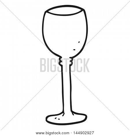freehand drawn black and white cartoon wine glass