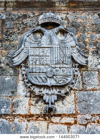 Door of Alcazar de Colon, the Columbus Crest close up  (Diego Columbus residence). Entrance to Spanish Square, Plaza de Espana. Santo Domingo, Dominican Republic.