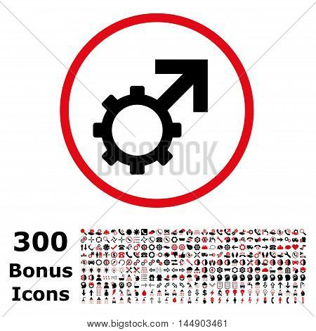 Technological Potence rounded icon with 300 bonus icons. Glyph illustration style is flat iconic bicolor symbols, intensive red and black colors, white background.