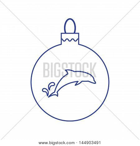 Vector icon Christmas ball with silhouette of Dolphin in trendy linear style on a white background.
