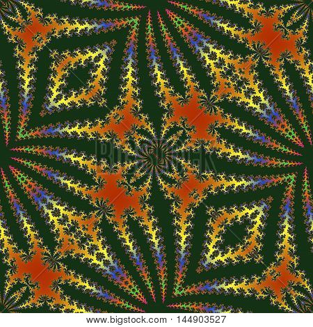 Abstract fractal pattern reminiscent of the jungle. Red, green, yellow, blue and black pattern with stylized leaves