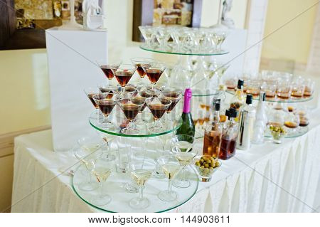 Glasses With Vermouth  And Drinks On Wedding Reception
