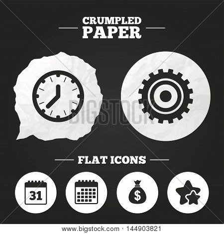 Crumpled paper speech bubble. Business icons. Calendar and mechanical clock signs. Dollar money bag and gear symbols. Paper button. Vector
