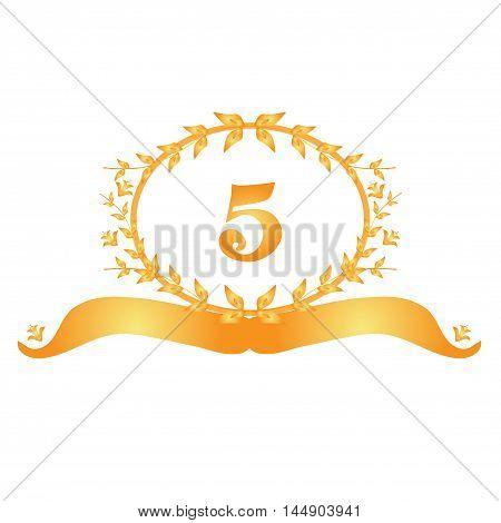 5th anniversary golden floral banner design element