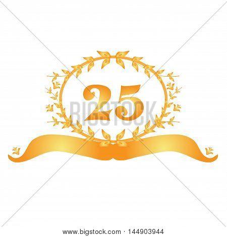 25th anniversary golden floral banner, design element