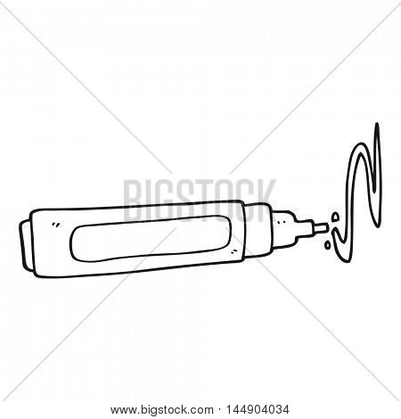 freehand drawn black and white cartoon pen