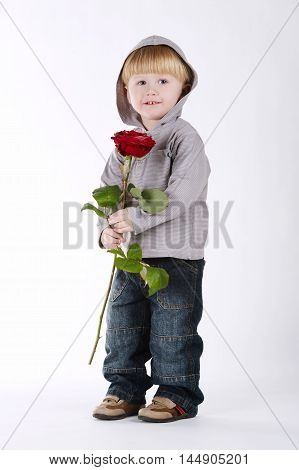 photo of little boy with rose on white