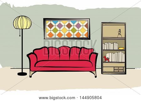Interior Furniture With Sofa, Floor Lamp, Book Shelf, Books And Picture On The Wall. Living Room Hnd