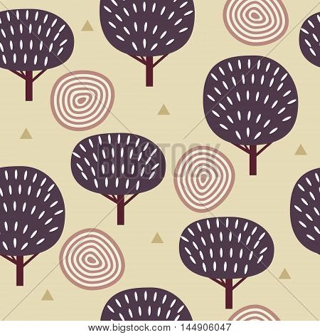 Seamless pattern in modern Scandinavian style. Vector background of nature.
