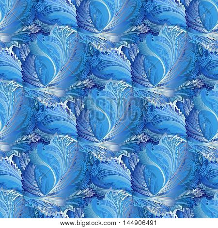 Winter blue frozen glass pattern background. Blue and cyan frost pattern with cold winter ice ornament, hoarfrost texture decor background. For winter printable design. Vector illustration.