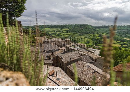 Roofs of houses in city Orvieto, Italy, Toscana