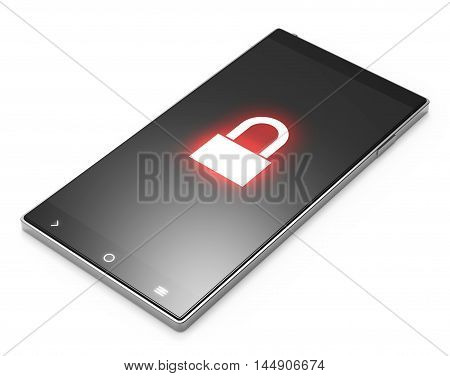 Illustration of Black 3D smartphone with locked screen on white background