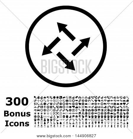 Centrifugal Arrows rounded icon with 300 bonus icons. Glyph illustration style is flat iconic symbols, black color, white background.