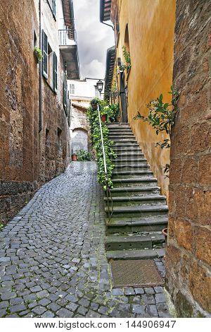 Ancient streets of the city Orvieto, Italy, Toscana