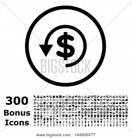 Chargeback rounded icon with 300 bonus icons. Glyph illustration style is flat iconic symbols, black color, white background.