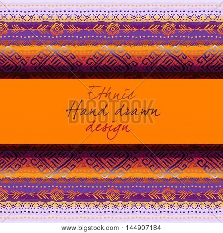 Horizontal seamless border frame with tribal stripe ornament in light background. Baner with text place. Geometric ethnic colorful design. Vector illustration stock vector.
