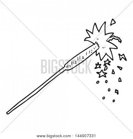 freehand drawn black and white cartoon sparkler