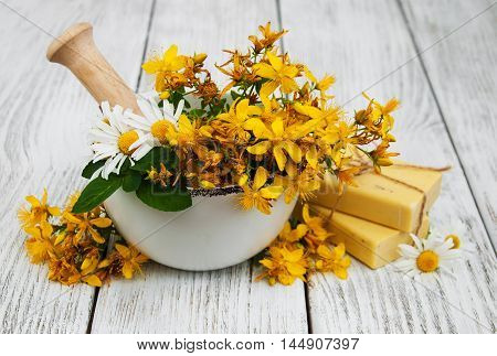Tutsan Flowers  And Mortar With Soap